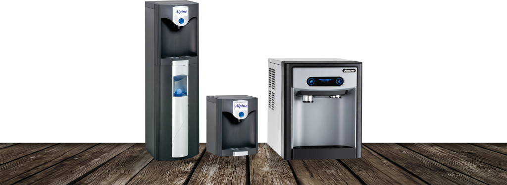Water filtration coolers in an office