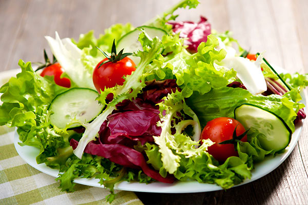 Fresh salad with tomatoes and cucumbers