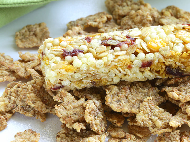 Granola bars with dried nuts and fruit